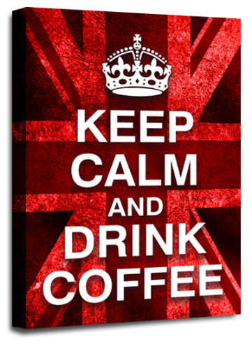 Keep Calm Drink Coffee Wall Art Red White British Flag